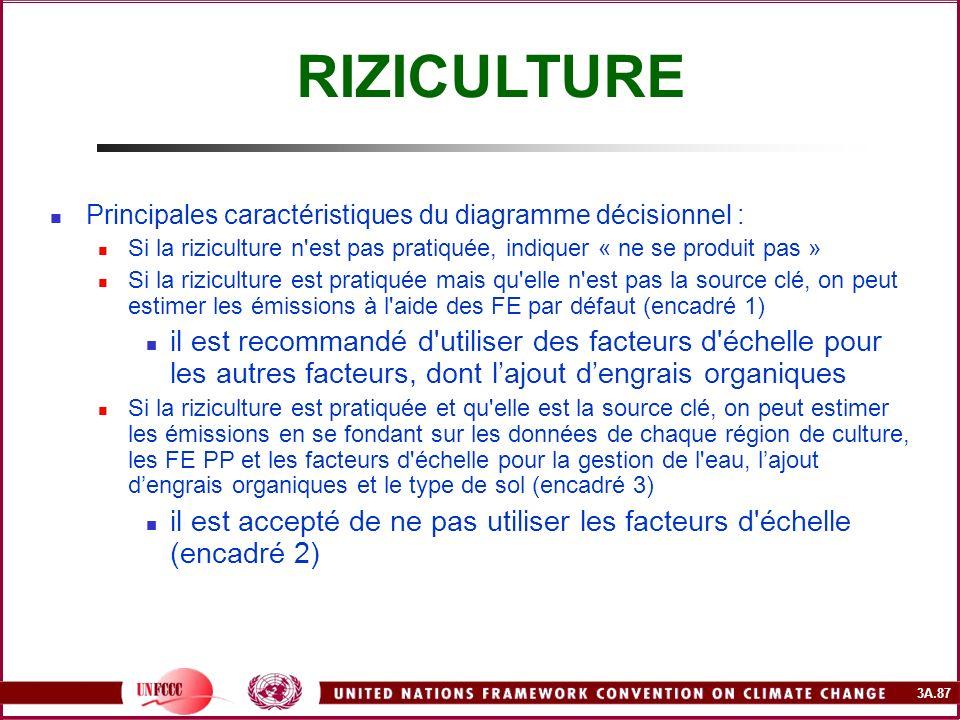 3A.87 Principales caractéristiques du diagramme décisionnel : Si la riziculture n'est pas pratiquée, indiquer « ne se produit pas » Si la riziculture