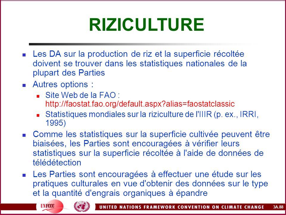 3A.88 Les DA sur la production de riz et la superficie récoltée doivent se trouver dans les statistiques nationales de la plupart des Parties Autres o