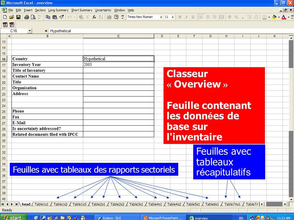 IPCC software Classeur « Overview » Feuille contenant les donn é es de base sur l'inventaire Feuilles avec tableaux des rapports sectoriels Feuilles a
