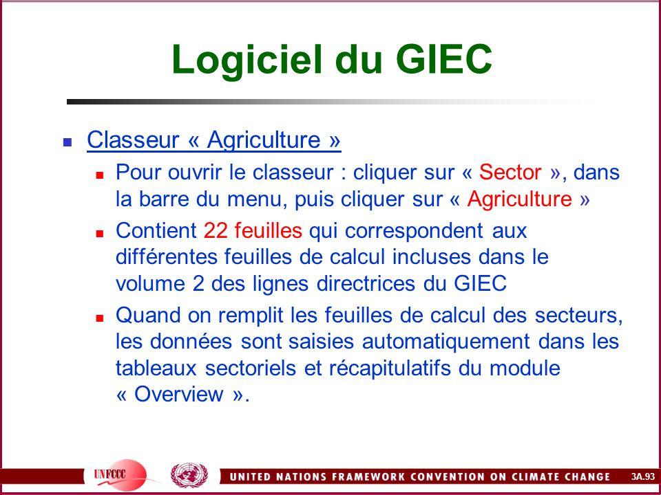3A.93 Logiciel du GIEC Classeur « Agriculture » Pour ouvrir le classeur : cliquer sur « Sector », dans la barre du menu, puis cliquer sur « Agricultur
