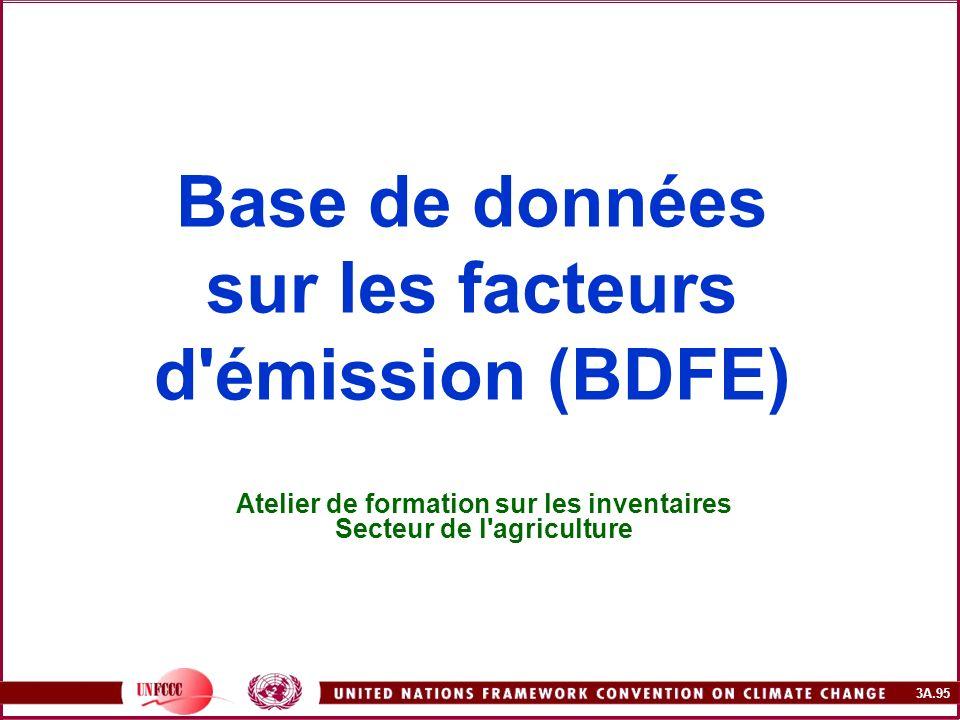 3A.95 Base de données sur les facteurs d'émission (BDFE) Atelier de formation sur les inventaires Secteur de l'agriculture