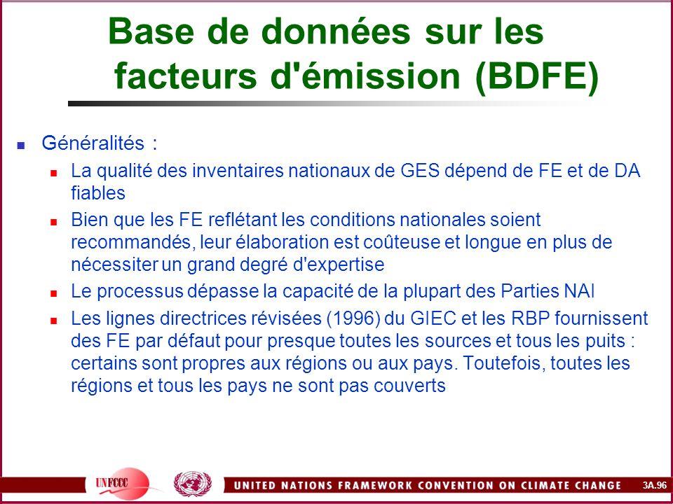 3A.96 Base de données sur les facteurs d'émission (BDFE) Généralités : La qualité des inventaires nationaux de GES dépend de FE et de DA fiables Bien