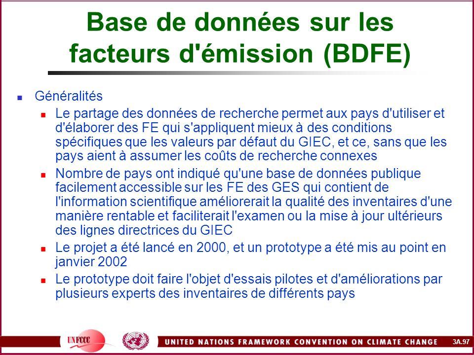 3A.97 Base de données sur les facteurs d'émission (BDFE) Généralités Le partage des données de recherche permet aux pays d'utiliser et d'élaborer des