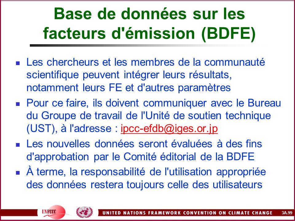 3A.99 Base de données sur les facteurs d'émission (BDFE) Les chercheurs et les membres de la communauté scientifique peuvent intégrer leurs résultats,