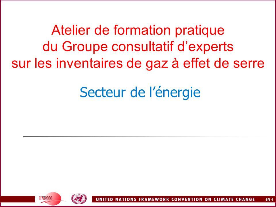 1B.2 Résumé du cours (suite) Émissions fugitives Documents de référence Extraction et manutention du charbon Industrie du pétrole et du gaz naturel Questions relatives aux données