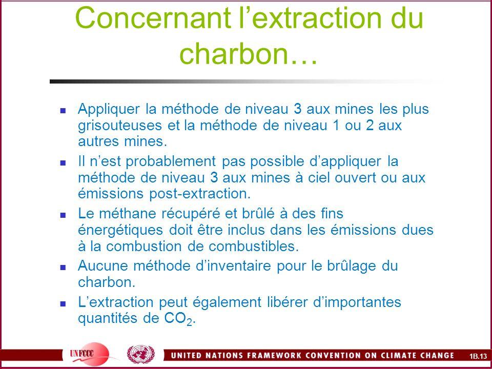 1B.13 Concernant lextraction du charbon… Appliquer la méthode de niveau 3 aux mines les plus grisouteuses et la méthode de niveau 1 ou 2 aux autres mines.