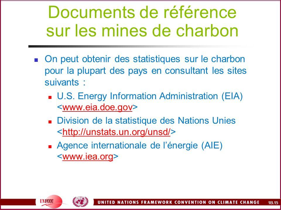 1B.15 Documents de référence sur les mines de charbon On peut obtenir des statistiques sur le charbon pour la plupart des pays en consultant les sites suivants : U.S.