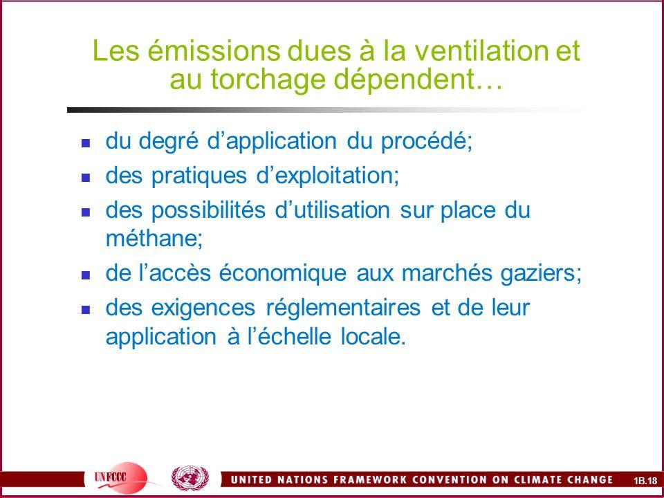 1B.18 Les émissions dues à la ventilation et au torchage dépendent… du degré dapplication du procédé; des pratiques dexploitation; des possibilités dutilisation sur place du méthane; de laccès économique aux marchés gaziers; des exigences réglementaires et de leur application à léchelle locale.