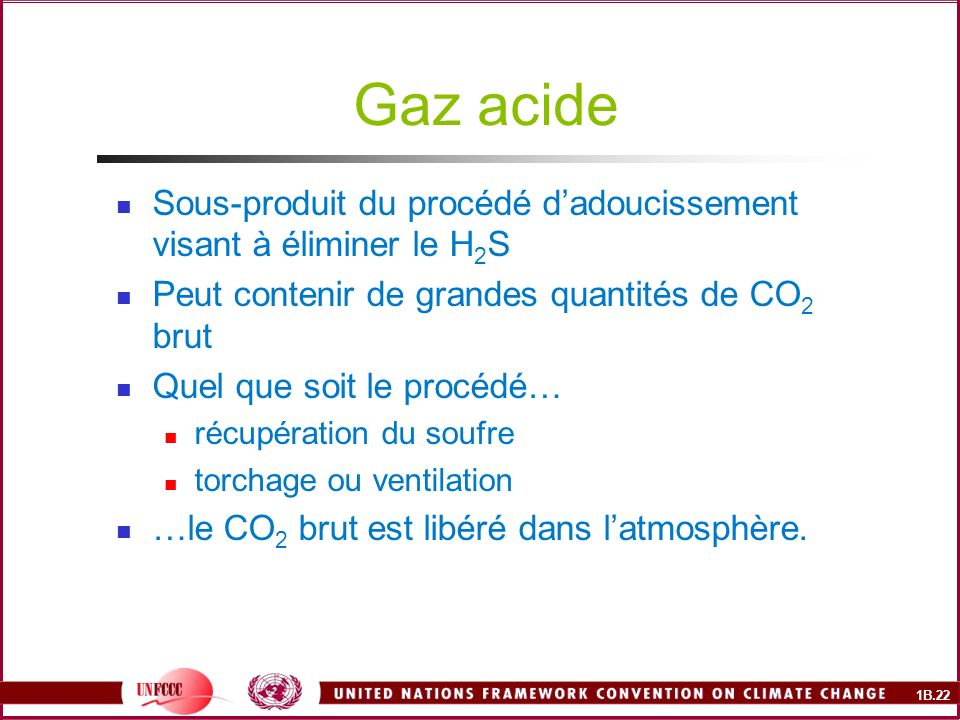 1B.22 Gaz acide Sous-produit du procédé dadoucissement visant à éliminer le H 2 S Peut contenir de grandes quantités de CO 2 brut Quel que soit le procédé… récupération du soufre torchage ou ventilation …le CO 2 brut est libéré dans latmosphère.