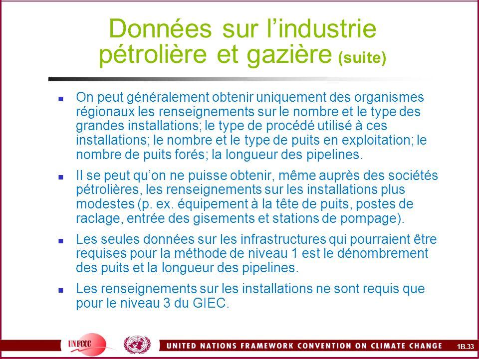 1B.33 Données sur lindustrie pétrolière et gazière (suite) On peut généralement obtenir uniquement des organismes régionaux les renseignements sur le nombre et le type des grandes installations; le type de procédé utilisé à ces installations; le nombre et le type de puits en exploitation; le nombre de puits forés; la longueur des pipelines.
