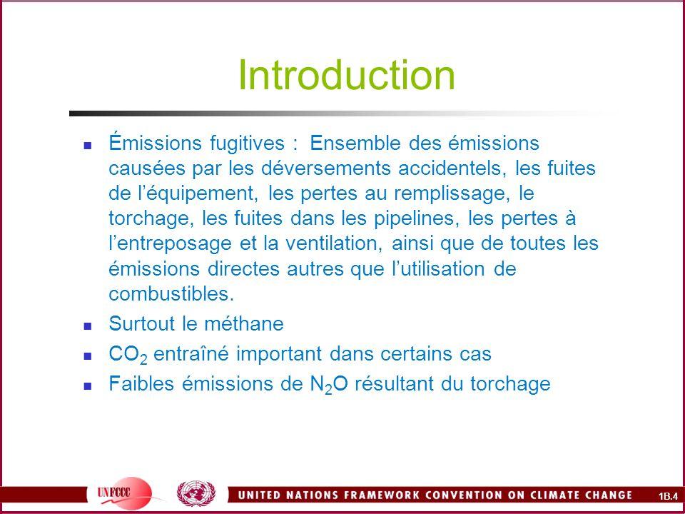 1B.5 Sources des émissions fugitives Combustibles solides (charbon surtout) Extraction, manutention, traitement et entreposage Industrie du pétrole et du gaz naturel exploration, production, traitement, raffinage, transport, entreposage et distribution
