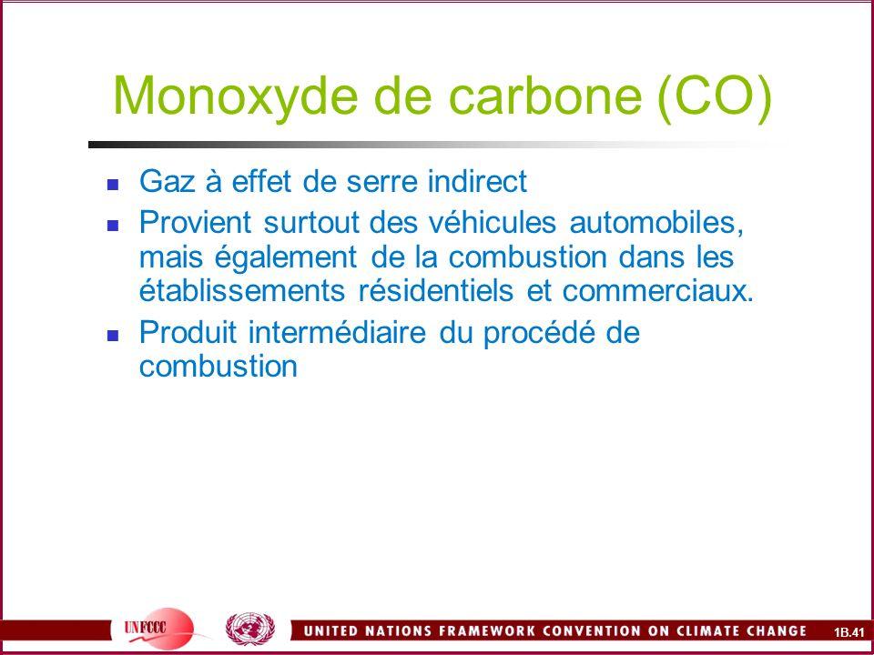 1B.41 Monoxyde de carbone (CO) Gaz à effet de serre indirect Provient surtout des véhicules automobiles, mais également de la combustion dans les établissements résidentiels et commerciaux.