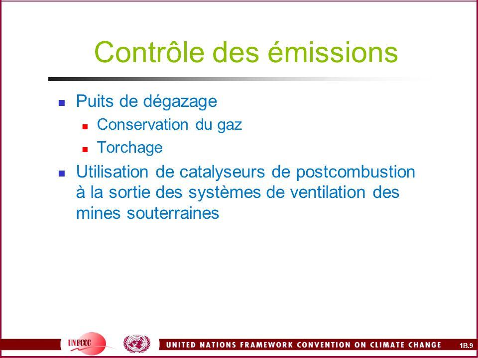 1B.9 Contrôle des émissions Puits de dégazage Conservation du gaz Torchage Utilisation de catalyseurs de postcombustion à la sortie des systèmes de ventilation des mines souterraines