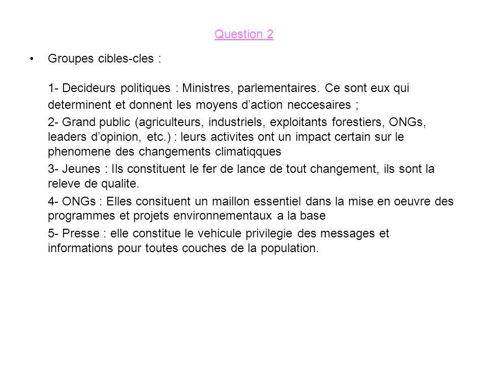 Question 2 Groupes cibles-cles : 1- Decideurs politiques : Ministres, parlementaires.