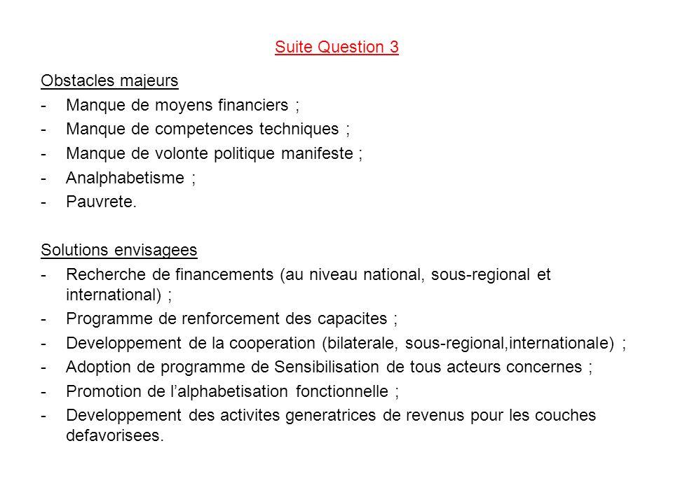 Suite Question 3 Obstacles majeurs -Manque de moyens financiers ; -Manque de competences techniques ; -Manque de volonte politique manifeste ; -Analphabetisme ; -Pauvrete.