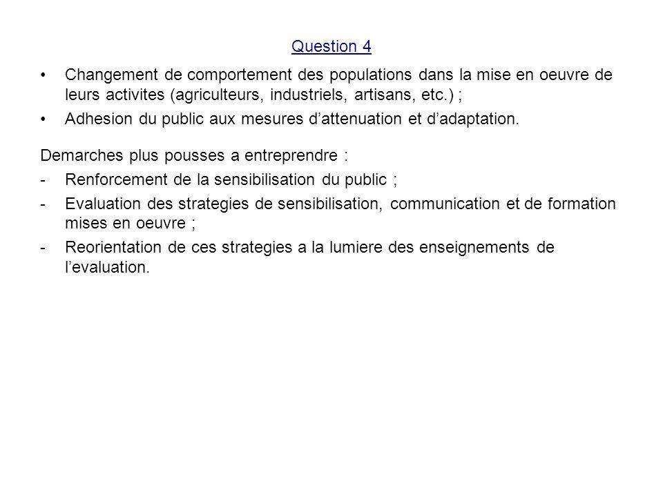 Question 4 Changement de comportement des populations dans la mise en oeuvre de leurs activites (agriculteurs, industriels, artisans, etc.) ; Adhesion du public aux mesures dattenuation et dadaptation.