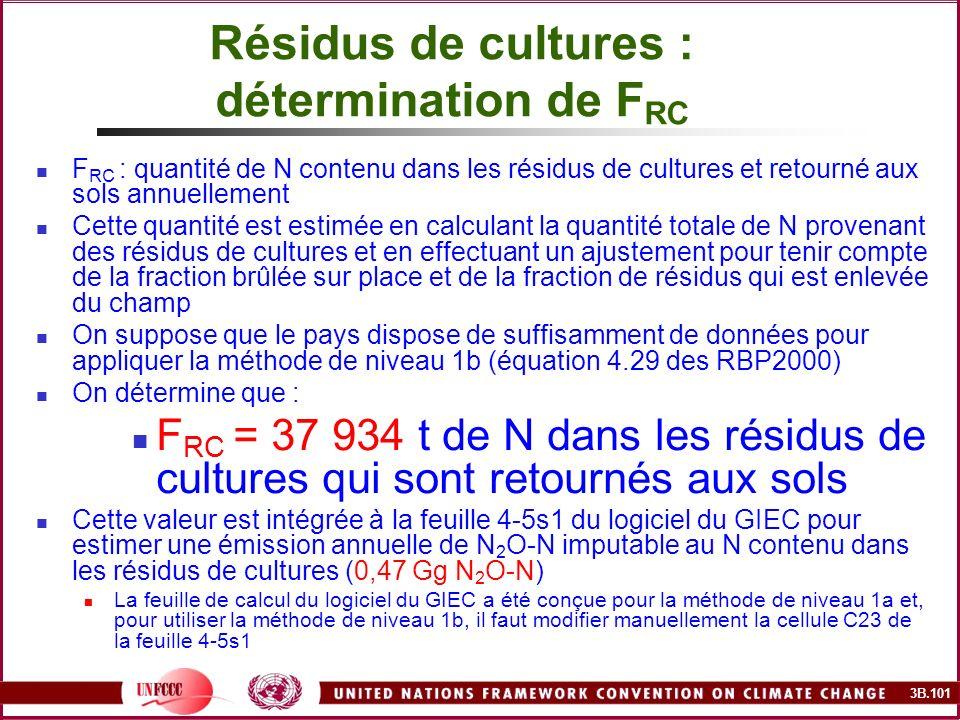 3B.101 Résidus de cultures : détermination de F RC F RC : quantité de N contenu dans les résidus de cultures et retourné aux sols annuellement Cette q