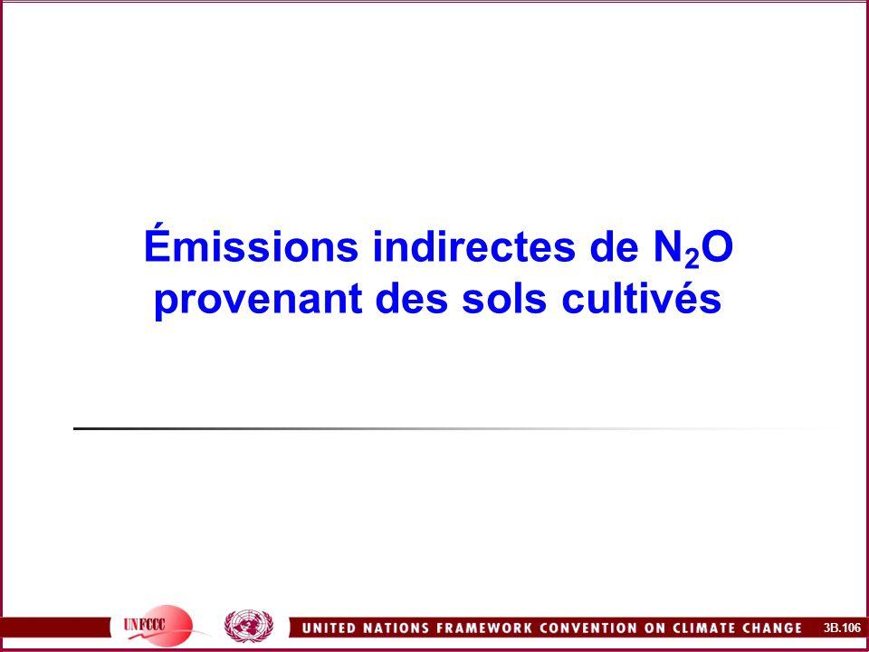 3B.106 Émissions indirectes de N 2 O provenant des sols cultivés