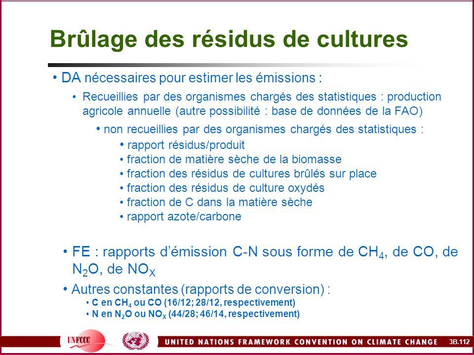 3B.112 DA nécessaires pour estimer les émissions : Recueillies par des organismes chargés des statistiques : production agricole annuelle (autre possi