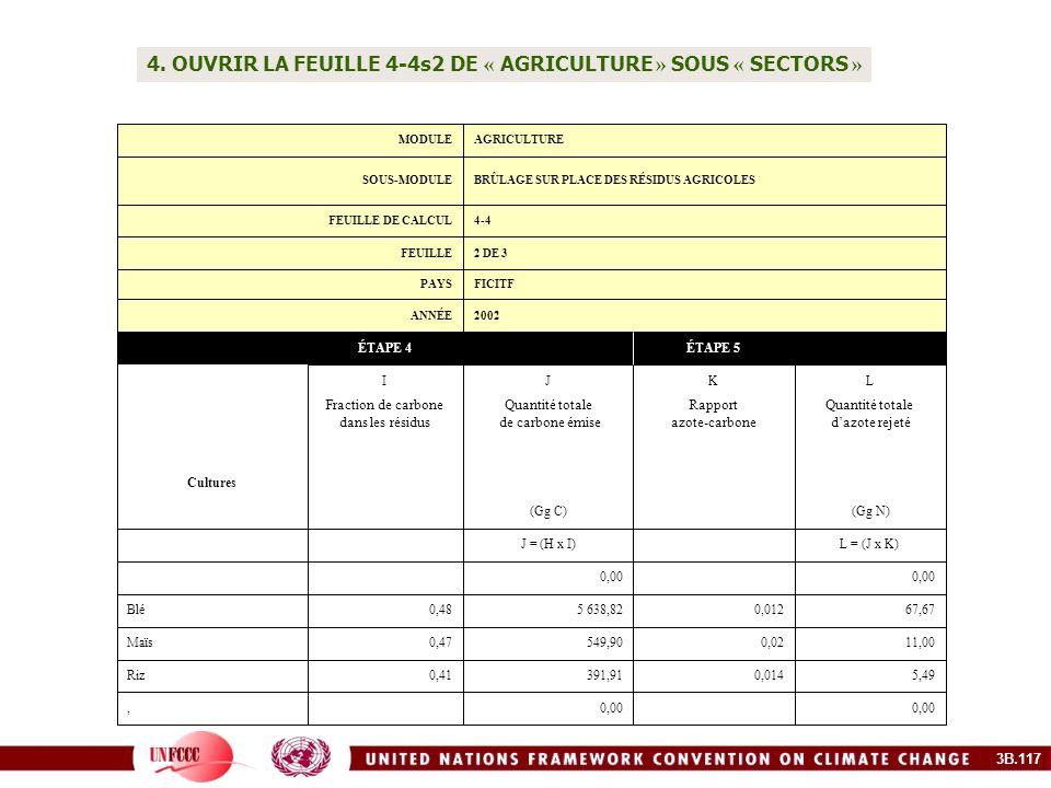 4. OUVRIR LA FEUILLE 4-4s2 DE « AGRICULTURE » SOUS « SECTORS » 0,00, 5,490,014391,910,41Riz 11,000,02549,900,47Maïs 67,670,012 5 638,820,48Blé 0,00 L