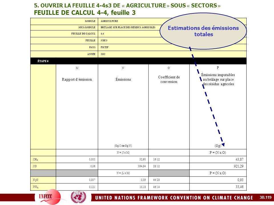 5. OUVRIR LA FEUILLE 4-4s3 DE « AGRICULTURE » SOUS « SECTORS » FEUILLE DE CALCUL 4-4, feuille 3 MODULEAGRICULTURE SOUS-MODULEBRÛLAGE SUR PLACE DES RÉS