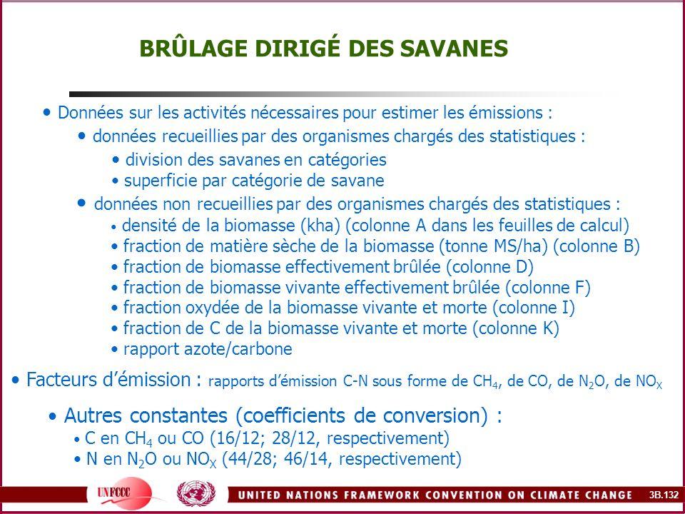 3B.132 BRÛLAGE DIRIGÉ DES SAVANES Données sur les activités nécessaires pour estimer les émissions : données recueillies par des organismes chargés de
