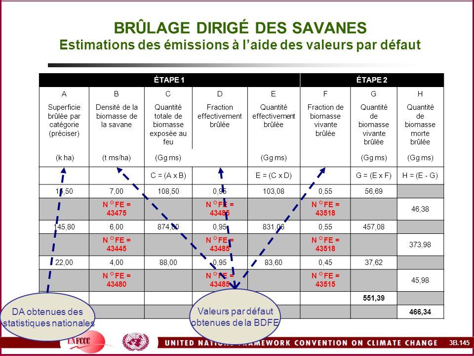 3B.145 BRÛLAGE DIRIGÉ DES SAVANES Estimations des émissions à laide des valeurs par défaut ÉTAPE 1ÉTAPE 2 ABCDEFGH Superficie brûlée par catégorie (pr