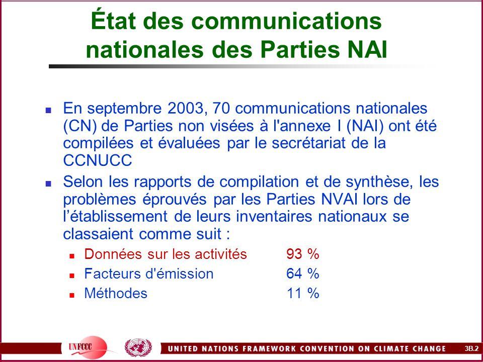3B.2 En septembre 2003, 70 communications nationales (CN) de Parties non visées à l'annexe I (NAI) ont été compilées et évaluées par le secrétariat de