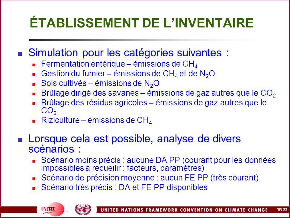 3B.22 ÉTABLISSEMENT DE LINVENTAIRE Simulation pour les catégories suivantes : Fermentation entérique – émissions de CH 4 Gestion du fumier – émissions