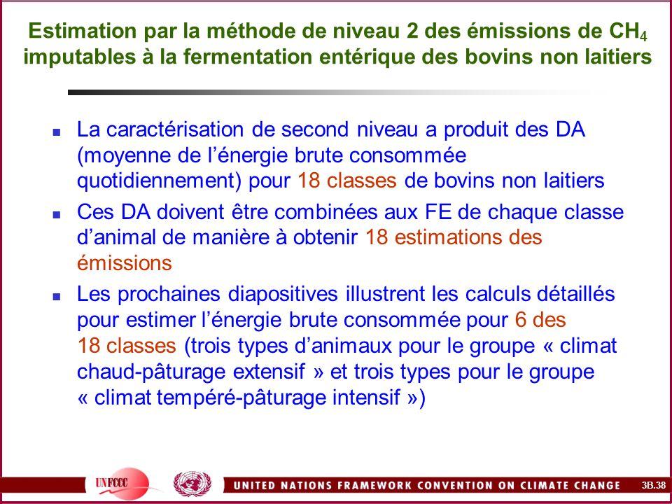 3B.38 Estimation par la méthode de niveau 2 des émissions de CH 4 imputables à la fermentation entérique des bovins non laitiers La caractérisation de