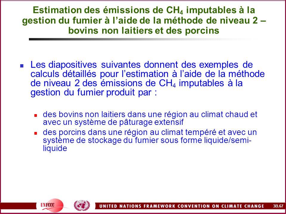 3B.67 Estimation des émissions de CH 4 imputables à la gestion du fumier à laide de la méthode de niveau 2 – bovins non laitiers et des porcins Les di