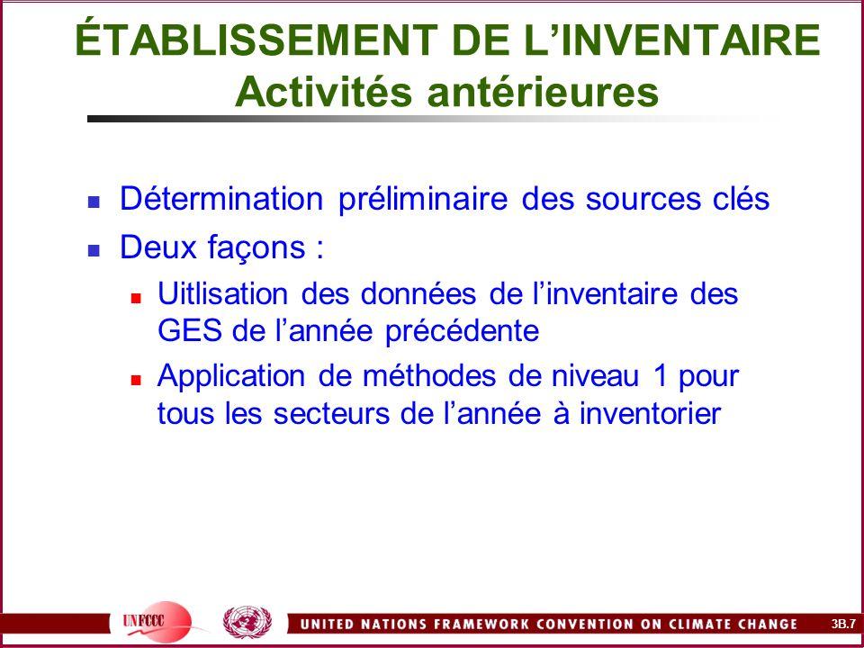 3B.7 ÉTABLISSEMENT DE LINVENTAIRE Activités antérieures Détermination préliminaire des sources clés Deux façons : Uitlisation des données de linventai