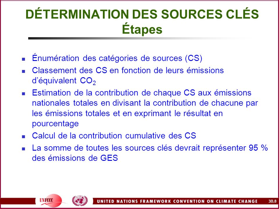 3B.8 DÉTERMINATION DES SOURCES CLÉS Étapes Énumération des catégories de sources (CS) Classement des CS en fonction de leurs émissions déquivalent CO