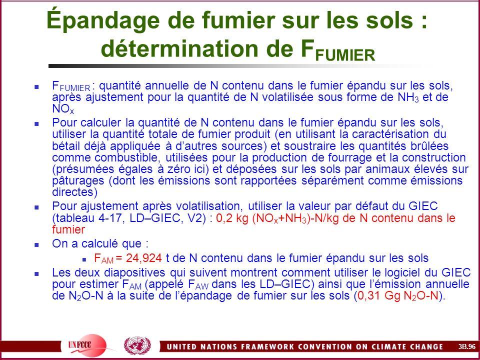 3B.96 Épandage de fumier sur les sols : détermination de F FUMIER F FUMIER : quantité annuelle de N contenu dans le fumier épandu sur les sols, après