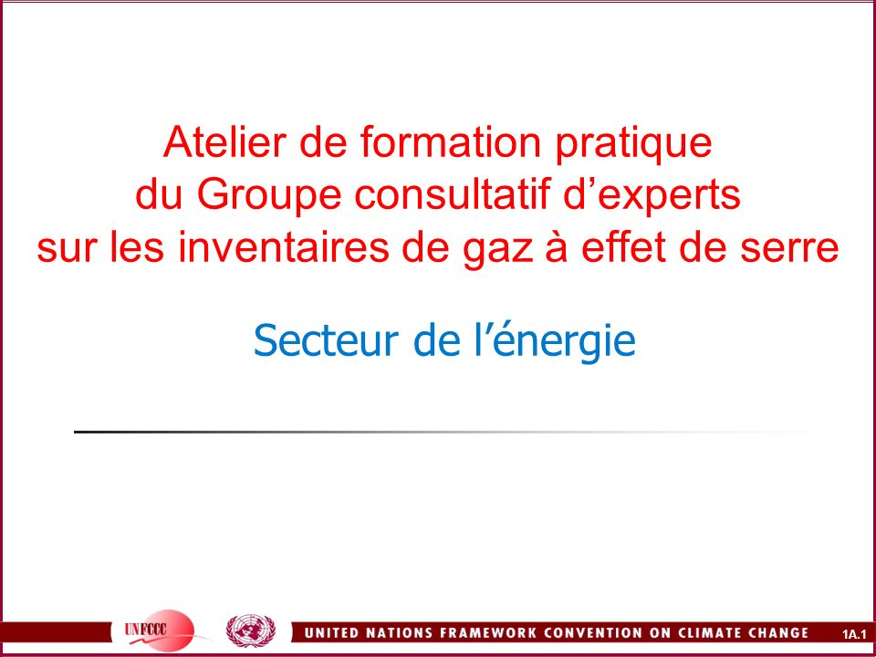 1A.1 Atelier de formation pratique du Groupe consultatif dexperts sur les inventaires de gaz à effet de serre Secteur de lénergie