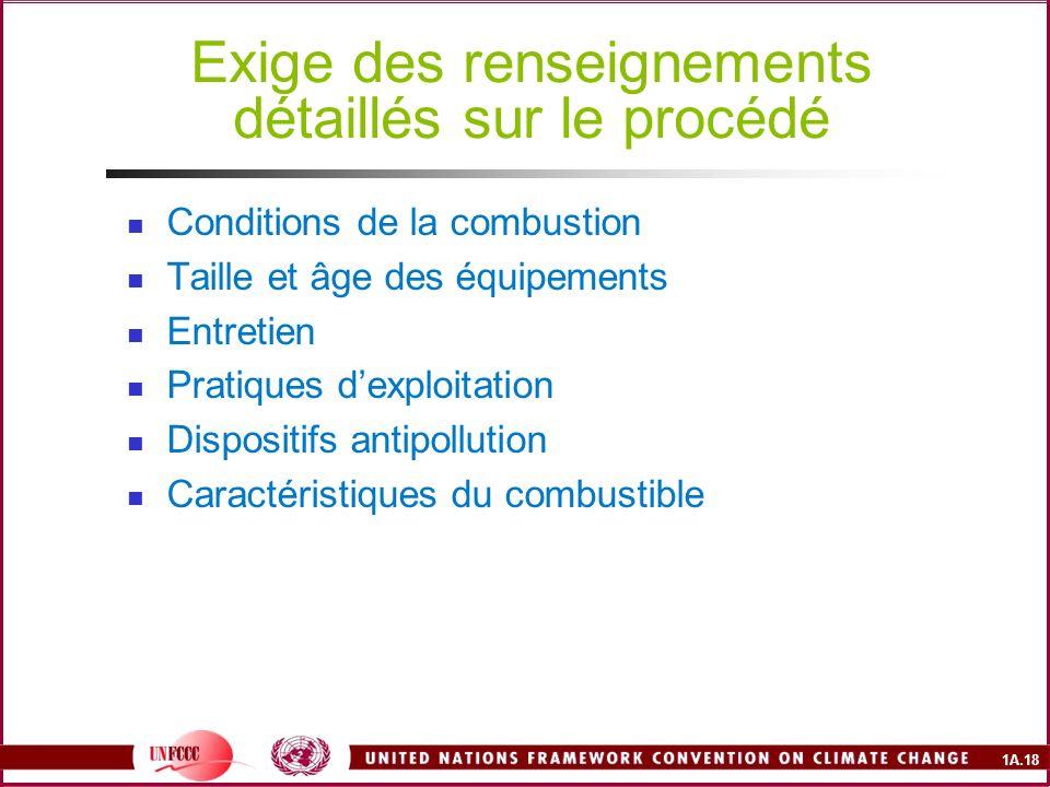 1A.18 Exige des renseignements détaillés sur le procédé Conditions de la combustion Taille et âge des équipements Entretien Pratiques dexploitation Di