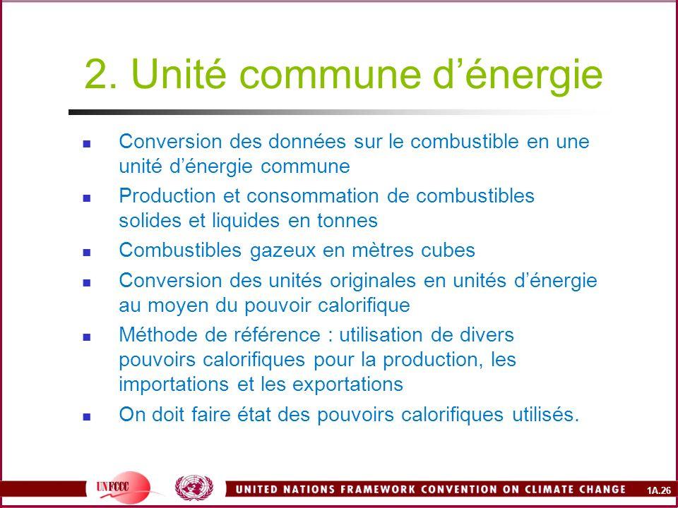 1A.26 2. Unité commune dénergie Conversion des données sur le combustible en une unité dénergie commune Production et consommation de combustibles sol