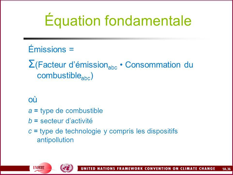 1A.36 Équation fondamentale Émissions = Σ (Facteur démission abc Consommation du combustible abc ) où a = type de combustible b = secteur dactivité c