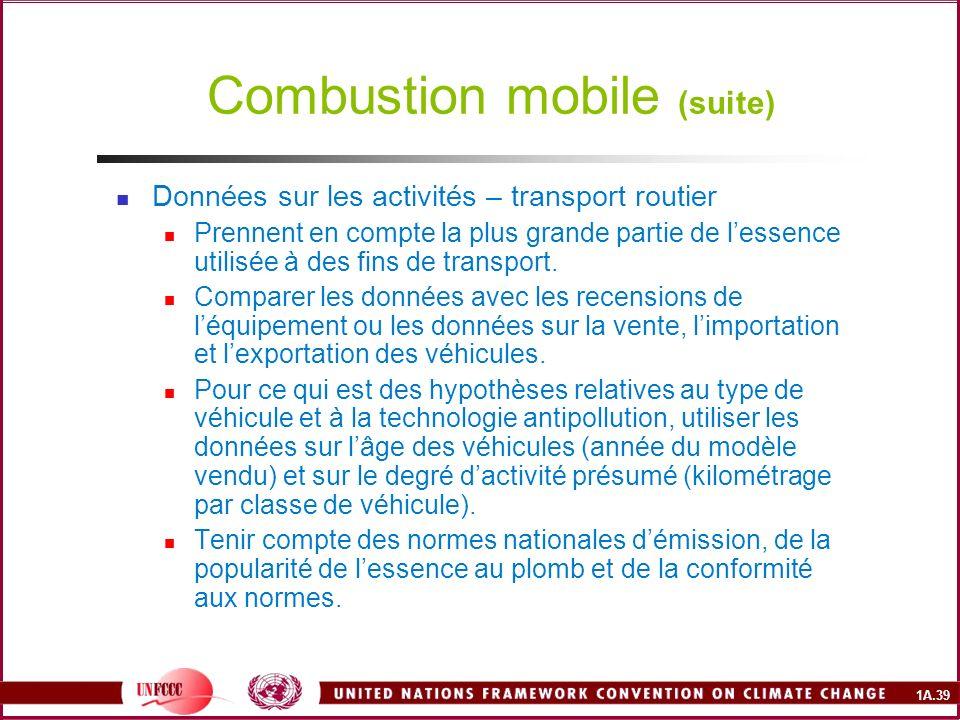 1A.39 Combustion mobile (suite) Données sur les activités – transport routier Prennent en compte la plus grande partie de lessence utilisée à des fins