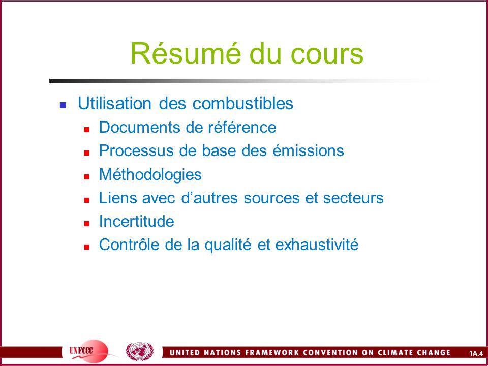 1A.4 Résumé du cours Utilisation des combustibles Documents de référence Processus de base des émissions Méthodologies Liens avec dautres sources et s