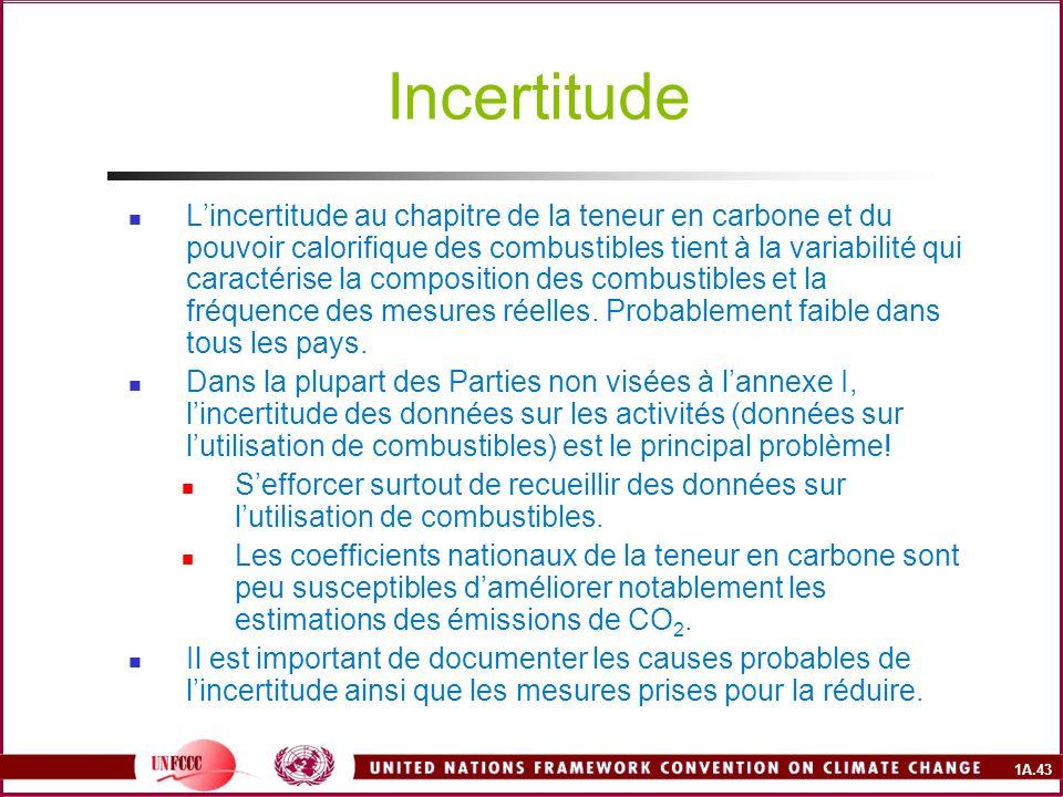 1A.43 Incertitude Lincertitude au chapitre de la teneur en carbone et du pouvoir calorifique des combustibles tient à la variabilité qui caractérise l