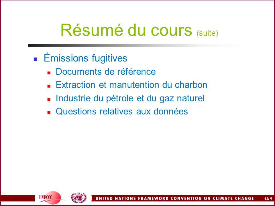 1A.5 Résumé du cours (suite) Émissions fugitives Documents de référence Extraction et manutention du charbon Industrie du pétrole et du gaz naturel Qu