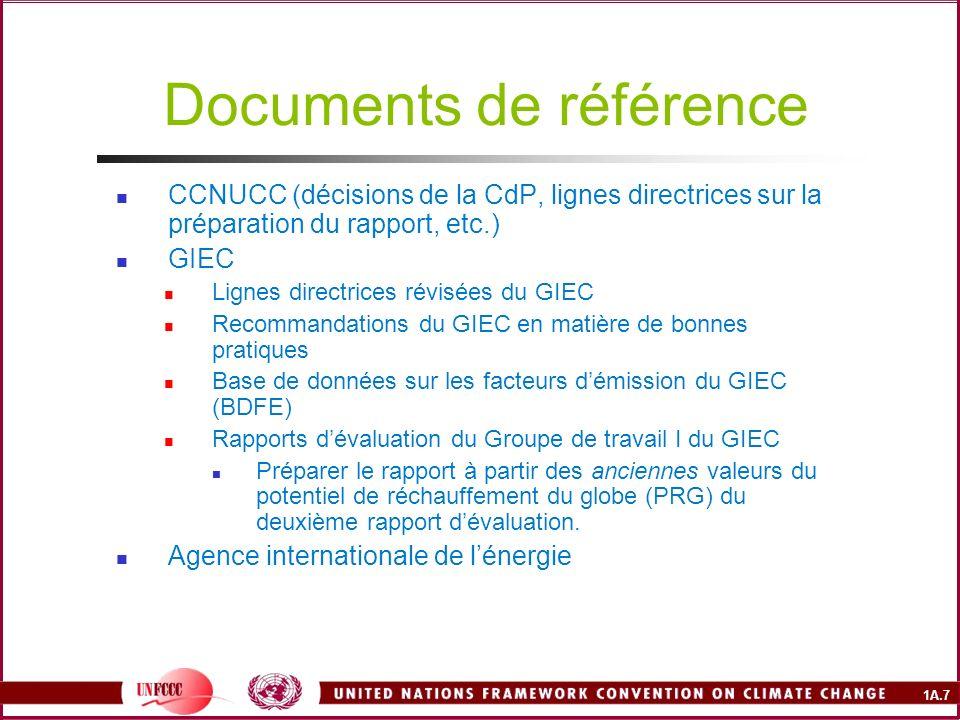 1A.7 Documents de référence CCNUCC (décisions de la CdP, lignes directrices sur la préparation du rapport, etc.) GIEC Lignes directrices révisées du G