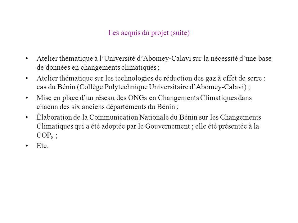 Les acquis du projet (suite) Atelier thématique à lUniversité dAbomey-Calavi sur la nécessité dune base de données en changements climatiques ; Atelie