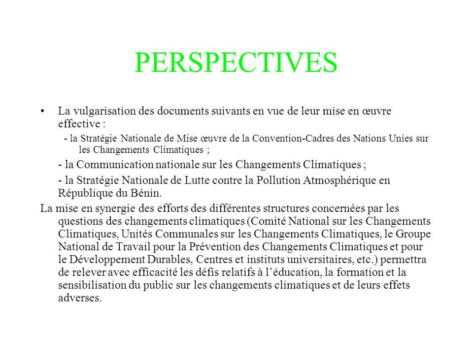 PERSPECTIVES La vulgarisation des documents suivants en vue de leur mise en œuvre effective : - la Stratégie Nationale de Mise œuvre de la Convention-