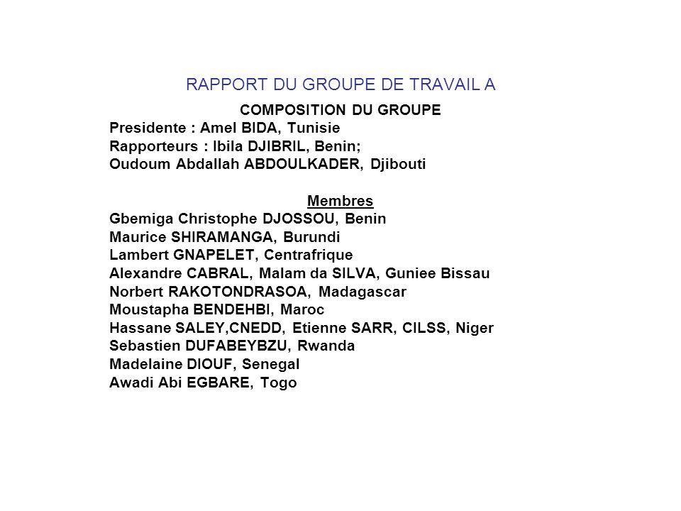 RAPPORT DU GROUPE DE TRAVAIL A COMPOSITION DU GROUPE Presidente : Amel BIDA, Tunisie Rapporteurs : Ibila DJIBRIL, Benin; Oudoum Abdallah ABDOULKADER,