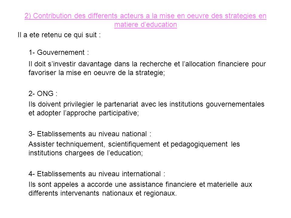 2) Contribution des differents acteurs a la mise en oeuvre des strategies en matiere deducation Il a ete retenu ce qui suit : 1- Gouvernement : Il doi