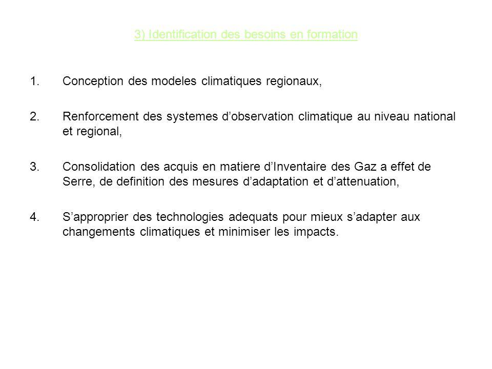 3) Identification des besoins en formation 1.Conception des modeles climatiques regionaux, 2.Renforcement des systemes dobservation climatique au nive
