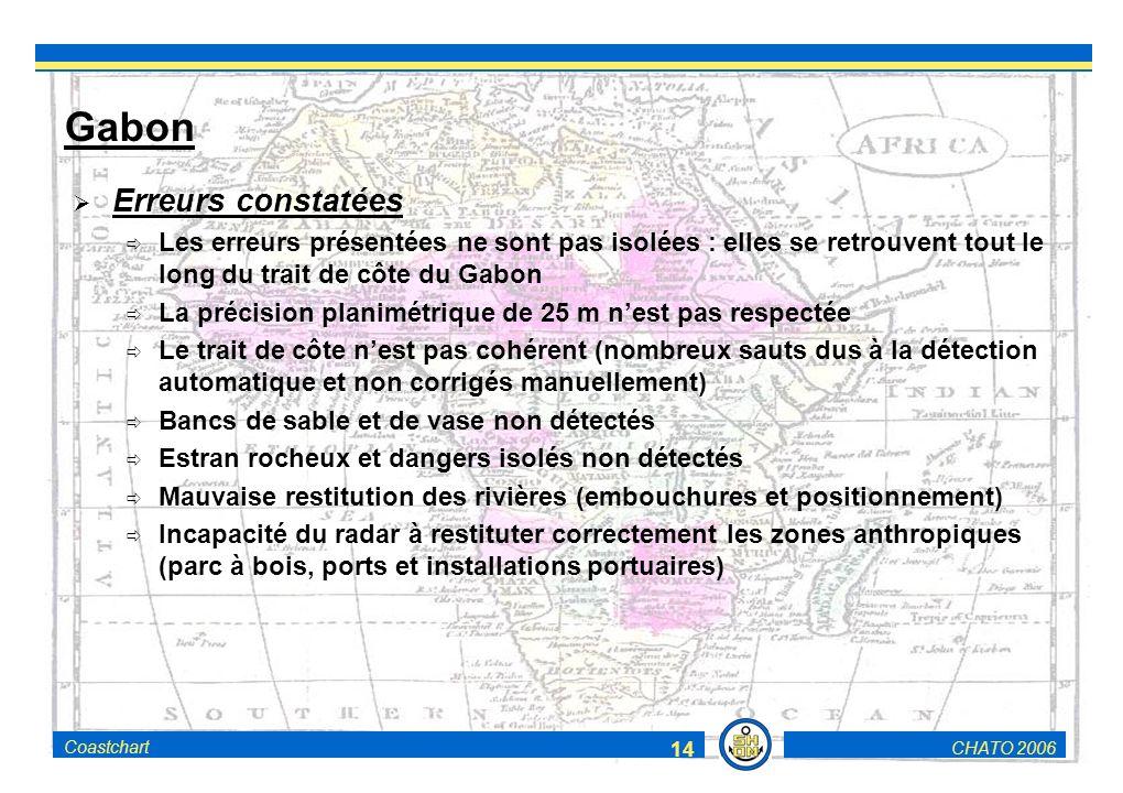 CHATO 2006Coastchart 14 Gabon Erreurs constatées Les erreurs présentées ne sont pas isolées : elles se retrouvent tout le long du trait de côte du Gabon La précision planimétrique de 25 m nest pas respectée Le trait de côte nest pas cohérent (nombreux sauts dus à la détection automatique et non corrigés manuellement) Bancs de sable et de vase non détectés Estran rocheux et dangers isolés non détectés Mauvaise restitution des rivières (embouchures et positionnement) Incapacité du radar à restituter correctement les zones anthropiques (parc à bois, ports et installations portuaires)