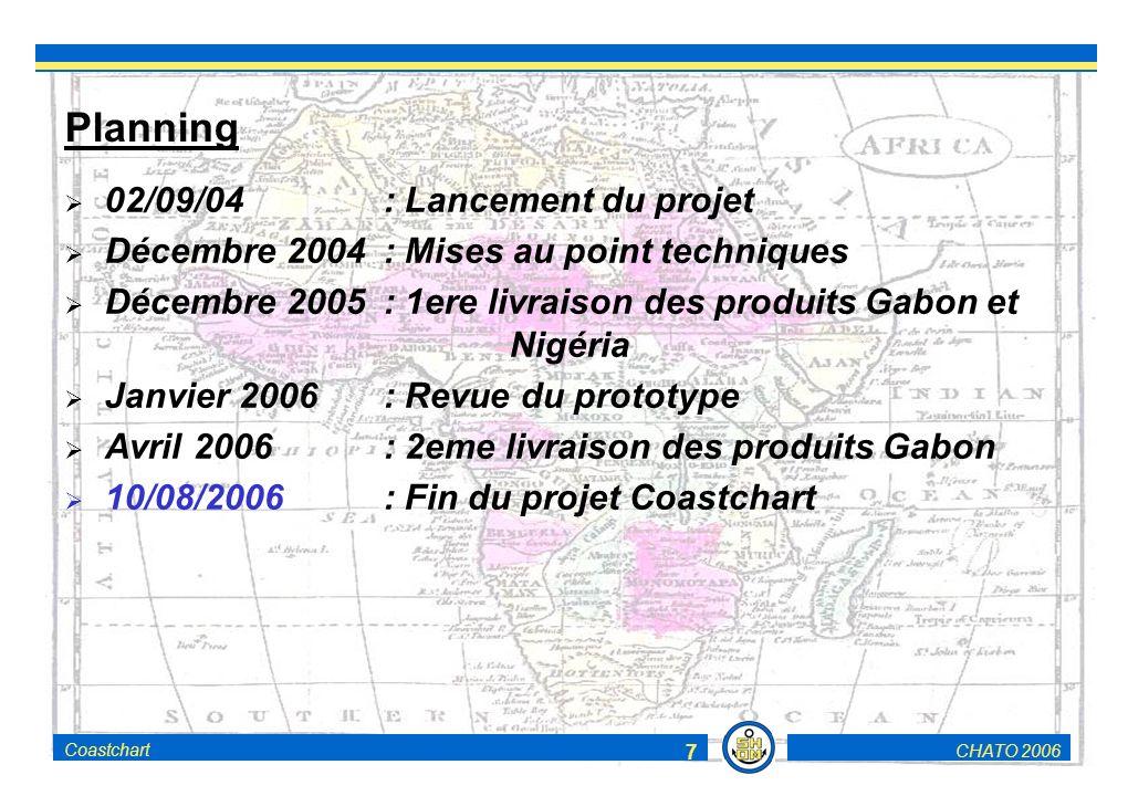 CHATO 2006Coastchart 7 Planning 02/09/04: Lancement du projet Décembre 2004: Mises au point techniques Décembre 2005: 1ere livraison des produits Gabon et Nigéria Janvier 2006 : Revue du prototype Avril 2006: 2eme livraison des produits Gabon 10/08/2006: Fin du projet Coastchart